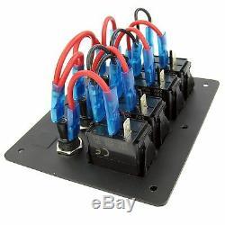 Marine 4 Gang LED Rocker Switch Panel Waterproof Fuse Aluminum Boat Car RV