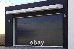 Modern Black Flush Textured Panel Steel Garage Door 16' x 8