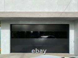 Modern Black Smooth Flush Panel Steel Garage Door & Horizontal Glass 10' x 8