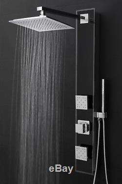 New 35 Aluminum Tempered Glass Black Massage Spray Shower Panel System Rainfall