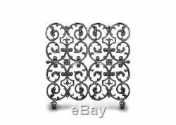 Ornamental Designs 2-Panel Avalon Fireplace Screen Silver Rub 30W x 30H