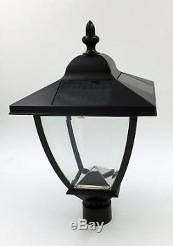 Out Door Lamp Post Black LED Street Light 3.2V Aluminum 4 Panel Solar Power New