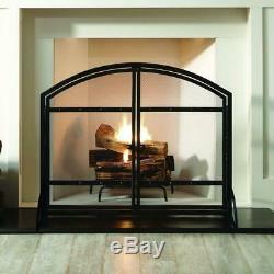 Pleasant Hearth Fireplace Screen 1-Panel Doors Durable Steel Antique Black