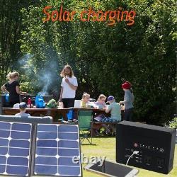 Powkey 200Watt Portable Power Bank with AC Outlet 60W Solar Panel Pure Sine