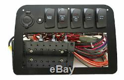 Premier Black Coated Aluminum Boat Rocker Dash Switch Panel With Receptacle