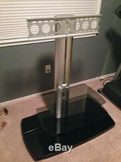 Sanus Flat Panel Series PFFP2b Three-Shelf TV Stand Black Silver Tempered Glass