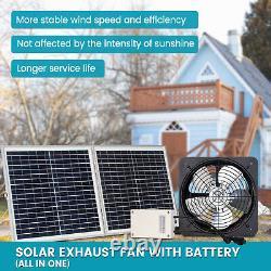 Solar Powered Attic Ventilator Gable Roof Vent Fan &Folding Solar Panel &Battery
