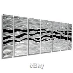 Statements2000 3D Metal Wall Art Panels Modern Silver Black Painting Jon Allen