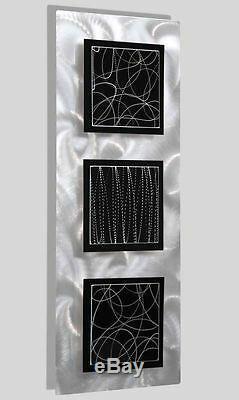 Statements2000 Modern 3D Metal Wall Art Panels Black Silver Decor by Jon Allen