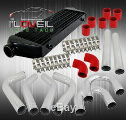 Turbo Accessories Combo Fmic Intercooler Black+8Pcs Piping Kit+Couplers+Clamps