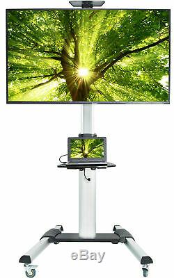 USED TV Cart Heavy Duty for Flat Screen Panel Mobile Stand with Wheels 37 to 70