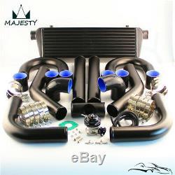 Universal DIY Intercooler + 2.5 63mm Aluminum Piping + BOV Black Hoses kit