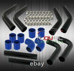Universal Diy Custom 8Pcs Black Pipe Intercooler 3 Piping Kit + Blue Couplers