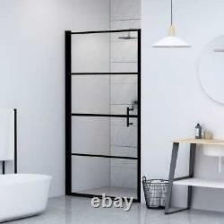 VidaXL Shower Door Tempered Glass Black Shower Enclosure Panel Bathroom Home