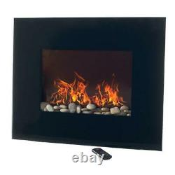 Wall Mount Electric Fireplace Glass Panel Remote Control Black Adjustable Flame